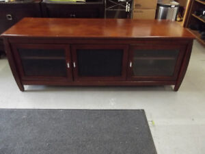 3 Door Wood and Glass Entertainment Cabinet