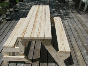 1 Left! New Handcrafted Wood Picnic Table Converts to Bench