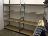 HEAVY DUTY METAL RACKING WITH PARTICLE BOARD SHELVES
