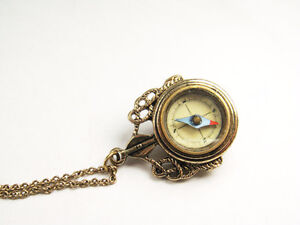 Nautical theme necklace with a compass