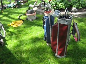Golf clubs and two bags