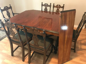 antique 1920's Warner Karling dining table with 6 chairs