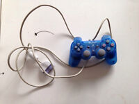 Blue PlayStation one controller