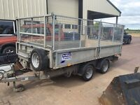 Ifor williams TT3621 tipping trailer mesh sides 8ft alloy skids. Bought new January 2014