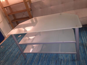Glass and metal entertainment table