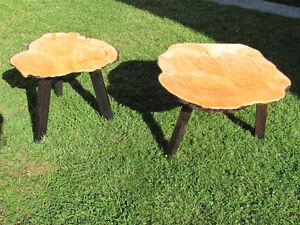 Matching Yellow Cedar Birdseye Burl tables
