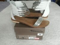 Tamaris white silver flat sandals