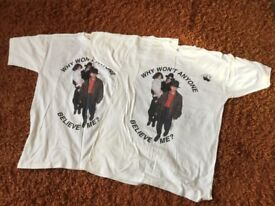 MICHAEL JACKSON 2 EXTREMELY RARE T SHIRTS. ONE OF THEM IS SIGNED IN BLUE INK AND DATED 97.