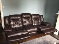 Real Leather reclining sofa and armchair