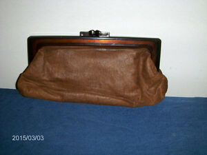 VINTAGE SHEEPSKIN LADIES PURSE-BAKELITE?-NO. 1201-UNIQUE!