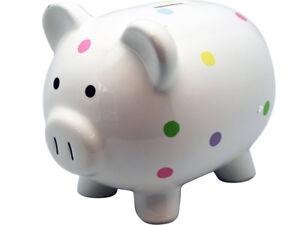 NEW IN BOX LARGE POLKA DOT PIGGY BANK