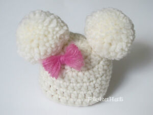 Handmade Crochet Pom Poms Hat with a Bow Newborn Photo Prop
