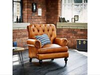 High back story tan leather armchair set