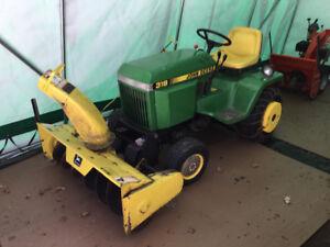 John Deere 318 lawn tractor, snow blower & trailer for sale