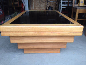 Mirror top wood coffee table