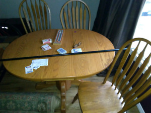Solid oak table with insert, 4 chairs