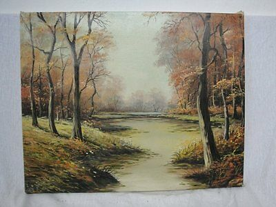 schönes Gemälde eines herbslichen Waldbach signiert !