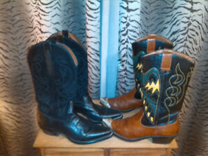 NineWest Ladies Cowboy Boots - silver plated toe caps