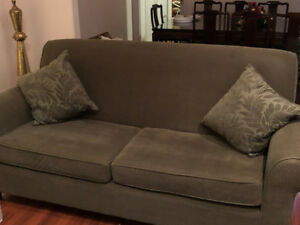 Forest green, modern microfiber sofa, excellent condition