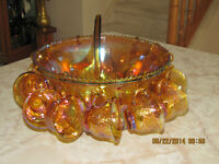 Punch Bowl Set - Indiana Glass - Gold