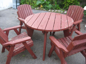 WOODEN PATIO SET $120.00 TABLE AND CHAIRS