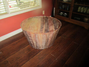 Rustic Modern Made Wine Barrel Accent Coffee Table Round Solid