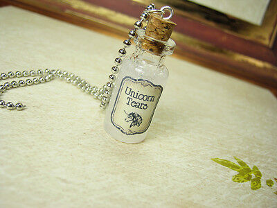 Unicorn Tears Glass Bottle Necklace - Halloween Glow in the Dark Charm - Kawaii ()