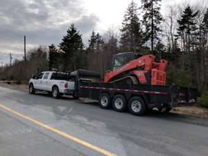 Dump Trailer, Machine floating, trucking services. Junk Removal.