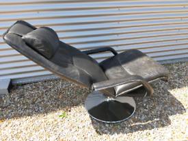 Vintage retro Danish black leather recliner chair armchair chrome base