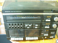 sanyo stereo record player radio duel cassette and speakers