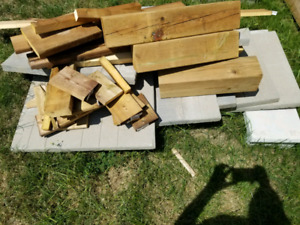 Lumber and concrete slabs