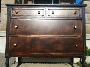 Antique Dark Washed Stained Dresser - 1930's