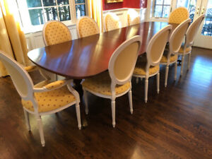 Classic Duncan Phyfe dining room table  72 inch double pedestal