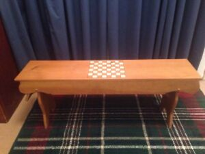 RUSTIC BENCH WITH CHECKER BOARD
