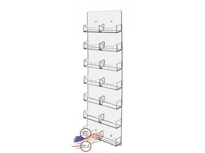 14 Pocket Vertical Business Card Holder Wall Rack Space Saver Clear