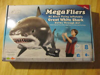 MegaFliers GREAT WHITE SHARK Flying Inflatable RC Blimp Toy 2011