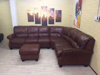 Huge Elegant Leather Corner Sofa