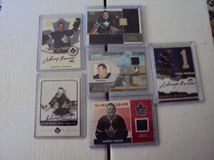 Johnny Bower jersey and autograph cards