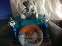 Children's toys and dusty plate