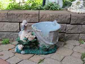 DUCK WITH DUCKLINGS AND WATER BUCKET PLANTER