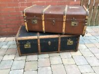 Pair Of Old Steamer Storage Trunks - Brown/Blue - Can Deliver