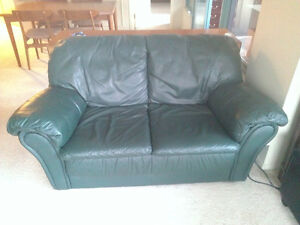 Leather Love Seat - Green Downtown-West End Greater Vancouver Area image 1