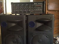 Fender PA speakers 12 inch with TOA 4 channel power mixer.