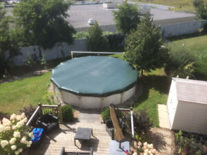 Complete 21 Foot Round Above Ground Pool with accessories