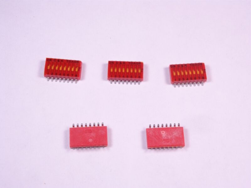 Lot of 5 TDA08H0SK1 C&K Switches SMT Half-Pitched DIP Switch SPST OFF ON NOS
