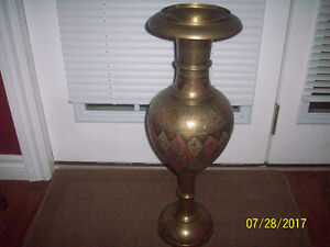 "BEST OFFER--24""  BRASS VASE- INDIAN  ENGRAVED DESIGN"