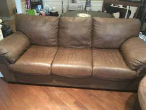 Brown leather 3 piece couch set
