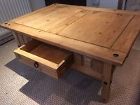 Pine coffee table with magazine drawer