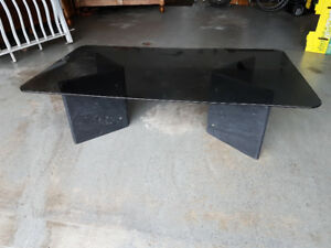 Designer Smoked Glass Coffee Table with Granite Supports
