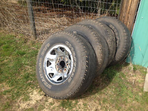 Goodyear Wrangler truck tires with rims, LT245-75-16
